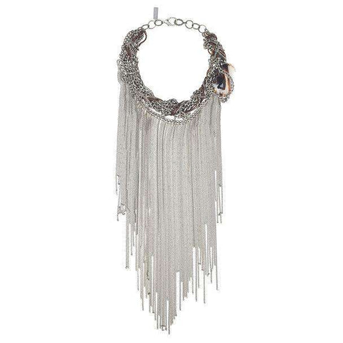 Fringes Statement Necklace With Agate Stone. Jewelry & Accessories - Necklaces Pendants Choker