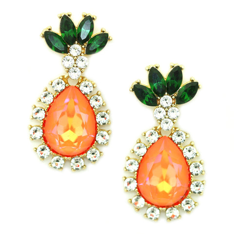 Image of Pineapple Drop Earrings Tangerine Women - Jewelry