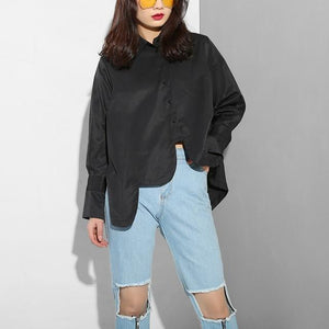 Sonoya Lapel Long Sleeve Irregular Hem Shirt Womens Fashion - Clothing Blouses & Shirts