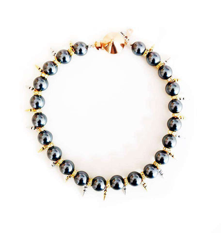 Handmade Statement Necklace With Black Pearls Swarovski Crystals Rhinestones And Gold Silver Rose