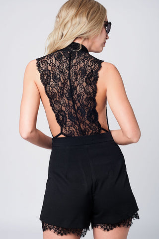 Image of Black Eyelash Lace Plunge Body Womens Fashion - Intimates And Loungewear Sleepwears Sleep Tops