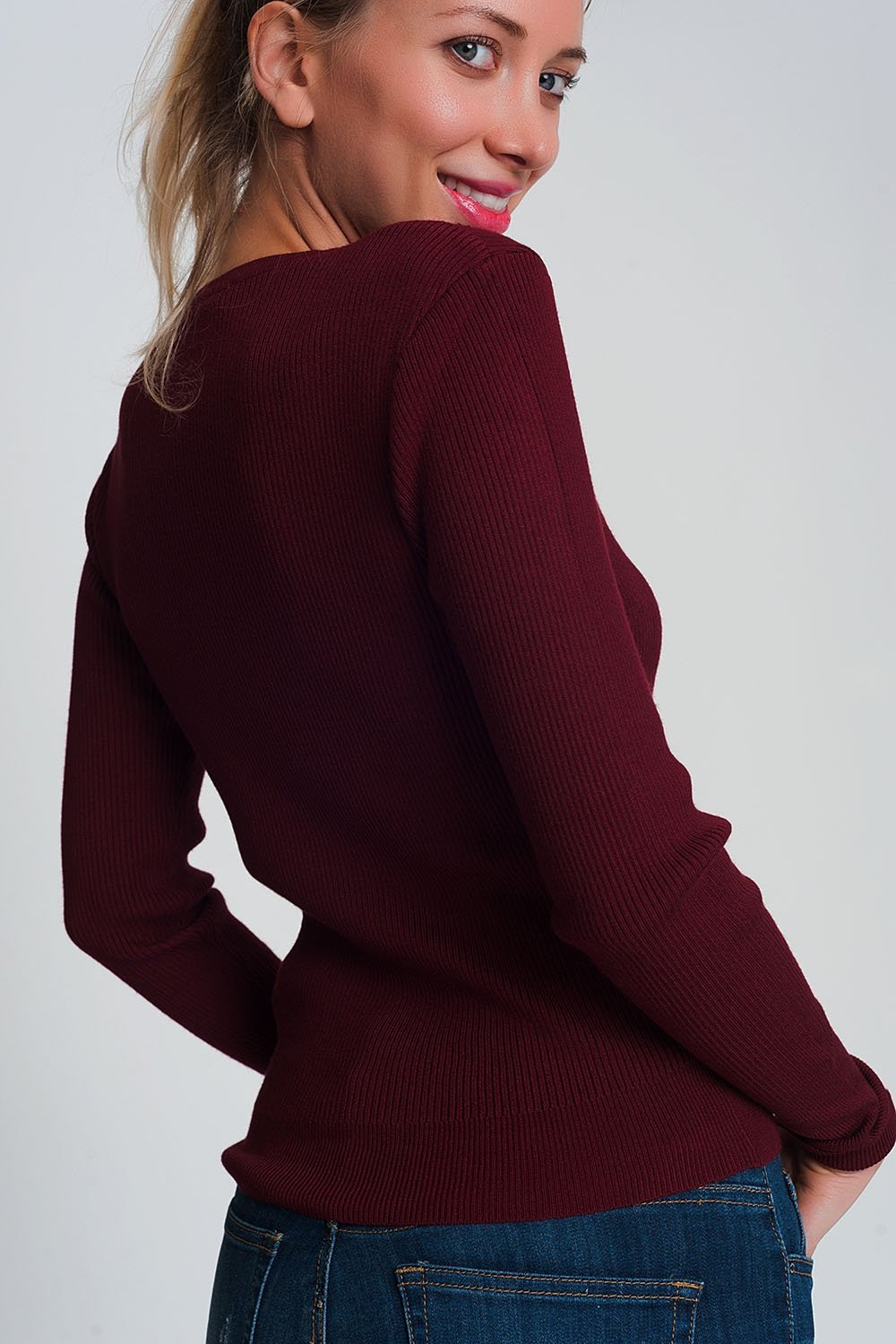 Fitted Jumper In Maroon Rib Knit Womens Fashion - Clothing Sweaters