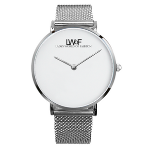 Silver Lwof Ladys World Of Fashion Steel Strap Water-Resistance Quartz Watch - Diameter 33Mm For-Her