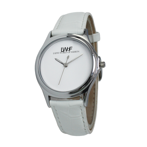 Image of Lwof Ladys World Of Fashion Silver Metal Water Resistant Quartz Watch White