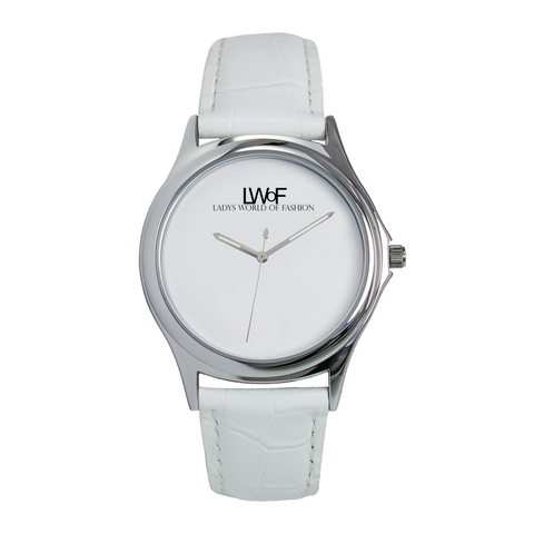 Image of Lwof Ladys World Of Fashion Silver Metal Water Resistant Quartz Watch White - Diameter 34Mm For-Her
