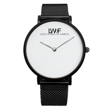 Load image into Gallery viewer, Black LWoF Ladys World of Fashion Steel Strap Water-Resistance Quartz Watch