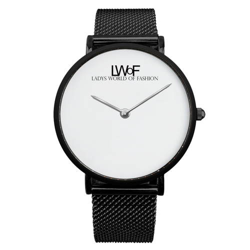 Black LWoF Ladys World of Fashion Steel Strap Water-Resistance Quartz Watch