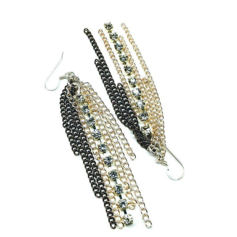 Rhinestone Crystal Chain Fringe Earrings Jewelry & Accessories -