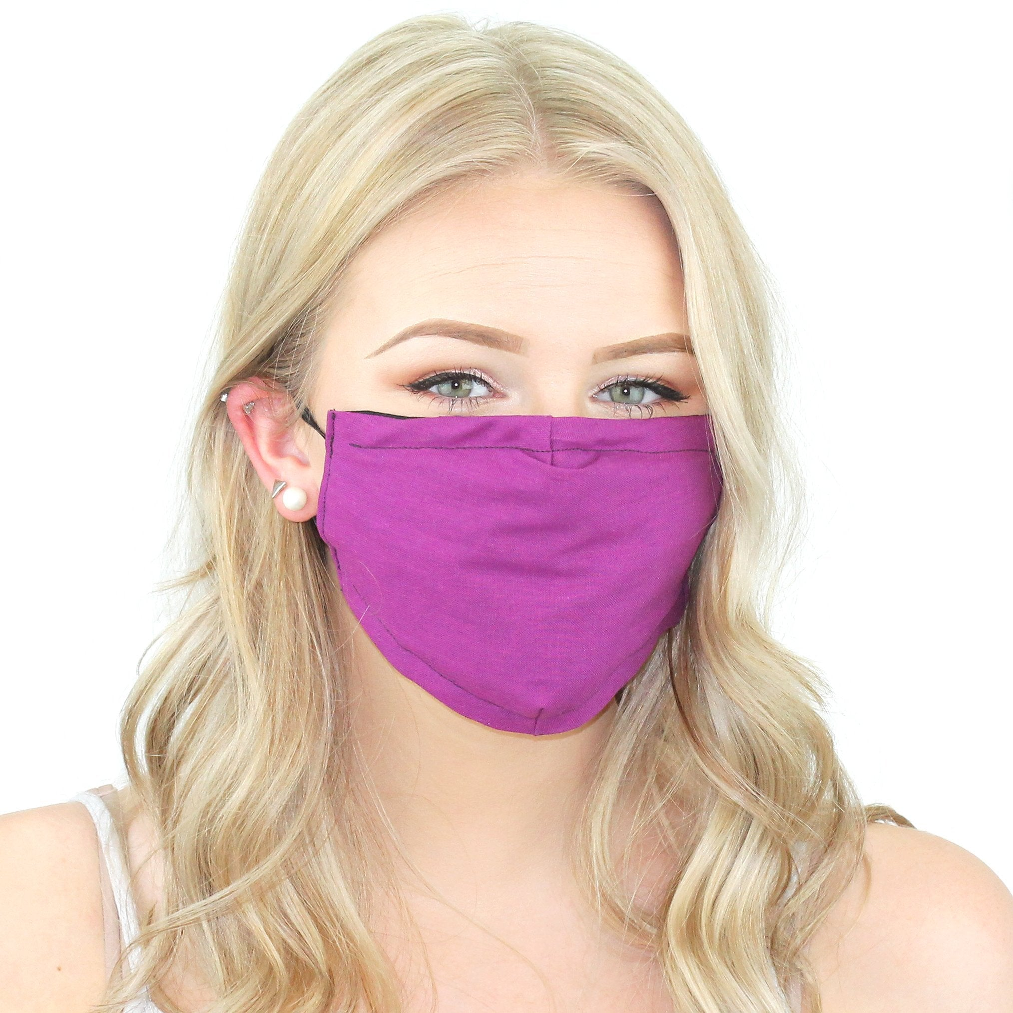 Reusable Cloth Face Mask With Pm2.5 Filter And Nose Bridge Fuschia Beauty & Health