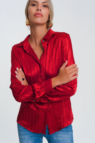 Long Sleeve Satin Striped Shirt In Red Womens Fashion - Clothing Blouses & Shirts