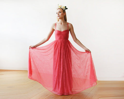 Image of Coral Sweetheart Neckline Maxi Lace Dress 1080 Xs-S Womens Fashion - Weddings & Events Evening