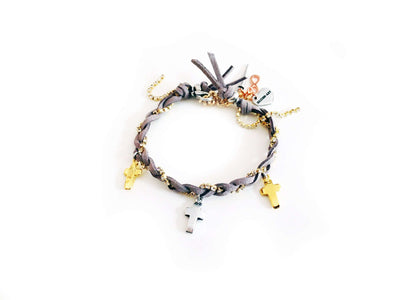 Friendship Bracelet With Golden Crosses Colorful Suede Ribbons And Rhinestones. Coachella Bracelets