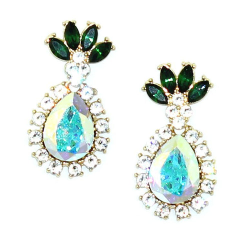 Image of Pineapple Drop Earrings Crystal Ab Women - Jewelry