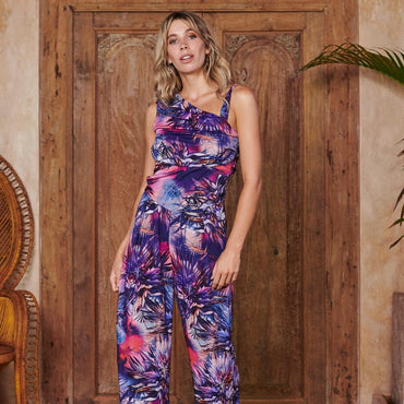 Nymph Jumpsuit In Blue Foliage Womens Fashion - Clothing Jumpsuits