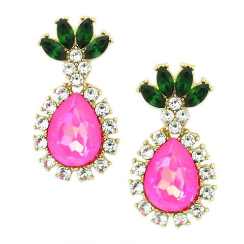 Image of Pineapple Drop Earrings Hot Pink Women - Jewelry