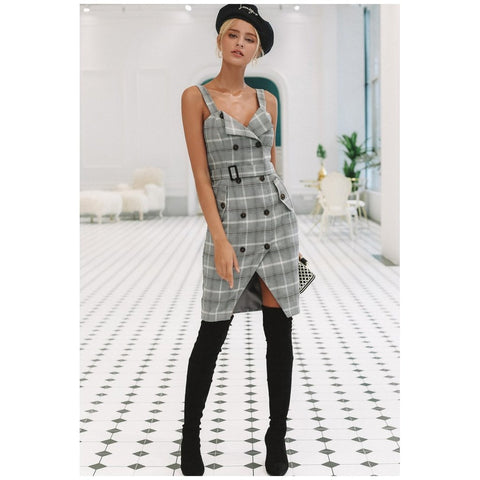 Image of Plaid Strap Double Breasted Dress Women - Apparel Dresses Day To Night