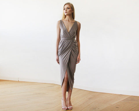 Image of Taupe Wrap Tulip Dress With V Neckline Womens Fashion - Weddings & Events