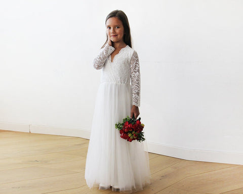 Image of Tulle And Lace Long Sleeves Ivory Flower Girls Gown 5043 Age 2-3 Women - Apparel Bridal