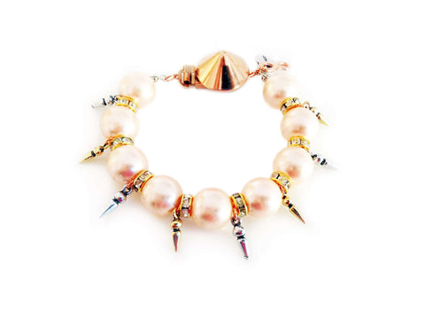 Handmade Statement Bracelet With Light Rose Pearls Swarovski Crystals Rhinestones And Gold Silver