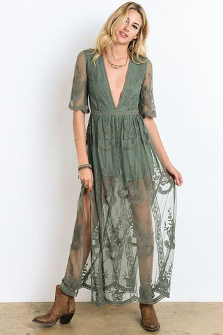 Image of Amelia Maxi Dress S / Sage Women - Apparel Dresses