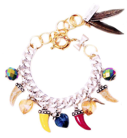 Colorful Horns Horseshoe Heart Charm Bracelet Jewelry & Accessories - Bracelets Bangles Cuff