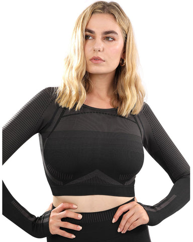 Image of Decata Seamless Sports Top - Black & Brown