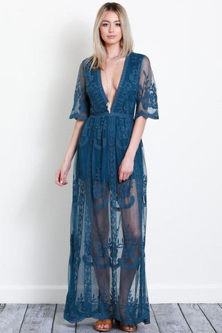 Image of Amelia Maxi Dress S / Teal Women - Apparel Dresses