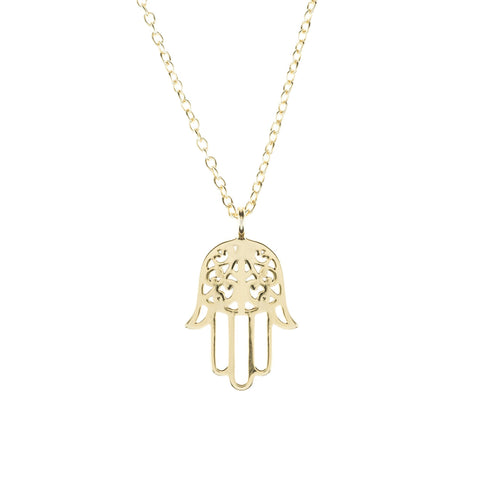 Image of Cosmic Hamsa Necklace Gold Women - Jewelry Necklaces