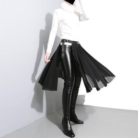 Allen Chiffon Belted Half Skirt Womens Fashion - Clothing