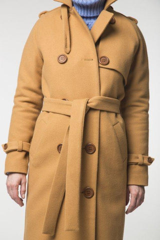 Image of Camel Trench Coat / Spring - Autumn Womens Collection 2018 By Revalu Women Apparel Outerwear Coats