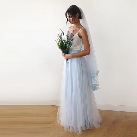 Image of Fairy Ivory & Light Blue Tulle Wedding Gown Womens Fashion - Weddings Events Evening Dresses