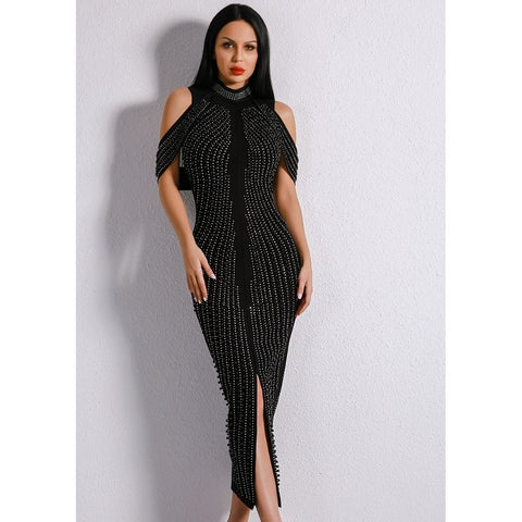 Image of Mid Calf Studded Dress Women - Apparel Dresses Evening
