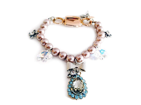 Vintage Rose Beaded Bracelet With Light Blue Rhinestones And Pearls Jewelry & Accessories -