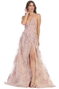 Long White Lace Prom Dress Formal Evening Gown Champagne / 6