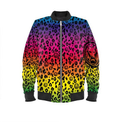 Men Rainbow Leopard Mens Bomber Jacket Xxs (32-34) Fashion - Clothing Jackets & Coats
