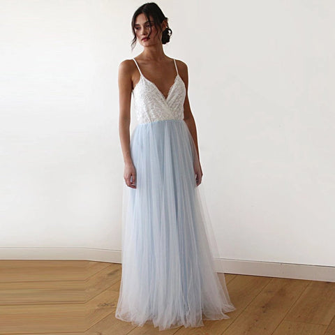 Image of Fairy Ivory & Light Blue Tulle Wedding Gown Xs-S Womens Fashion - Weddings Events Evening Dresses