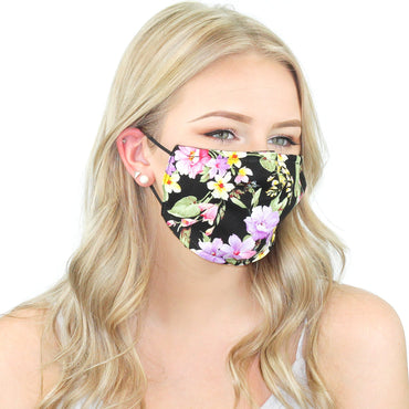 Reusable Cloth Face Mask With Pm2.5 Filter And Nose Bridge Black Floral Beauty & Health