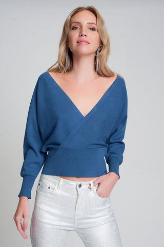 Knitted Sweater With Wrapped V-Neck in Blue