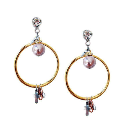 Gold Dangle And Drop Earrings With Rose Pearls Rhinestones Brass Charms. Hoop Boho Chic C Jewelry &