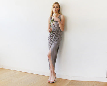 Taupe Wrap Tulip Dress With V Neckline S-M Womens Fashion - Weddings & Events