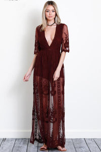 Amelia Maxi Dress S / Burgundy Women - Apparel Dresses