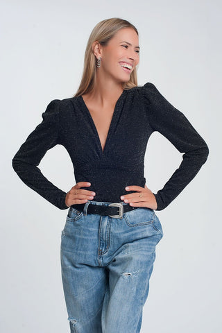 Image of Glitter Long Sleeve v Neck Body in Black