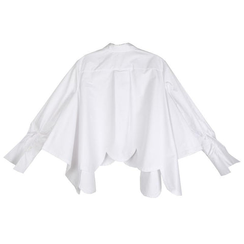 Image of Sonoya Lapel Long Sleeve Irregular Hem Shirt Womens Fashion - Clothing Blouses & Shirts