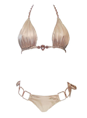 Tessa Triangle Top & Tie Side Bottom - Gold