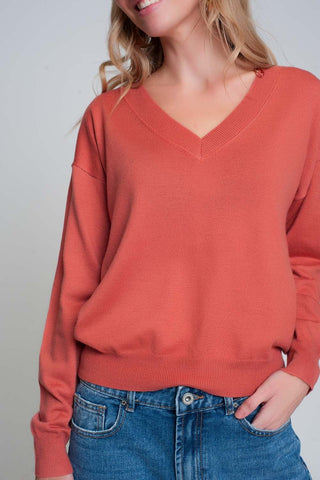 Fine Knit Coral Sweater With V-Neck