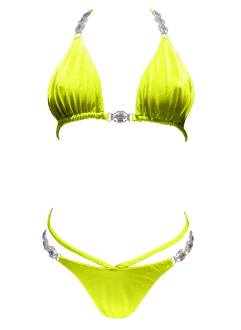 Image of Shanel Triangle Top & Strappy Tango Bottom - Yellow Women Apparel Swimwear Bikinis Separates
