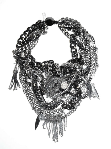 Bib Necklace With Gunmetal And Silver Studded Chains Swarovski Crystals Stones. Perfect For Party