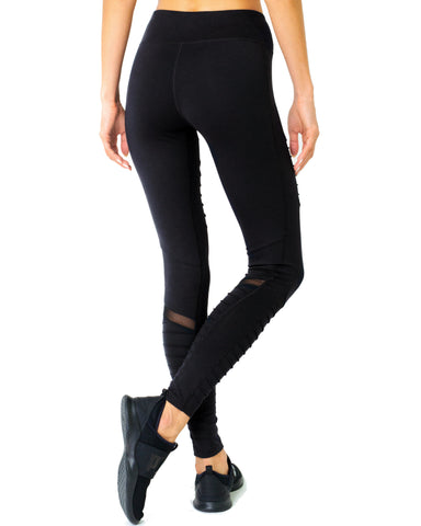 Image of Athletique Low-Waisted Ribbed Leggings With Hidden Pocket and Mesh Panels - Black