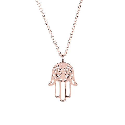 Image of Cosmic Hamsa Necklace Rosegold Women - Jewelry Necklaces