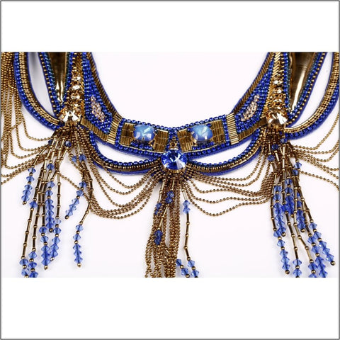 Image of Sapphire & Gold Delphinia Necklace. Women - Jewelry Necklaces